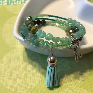 Jewelry - Shades of green coil bracelet.